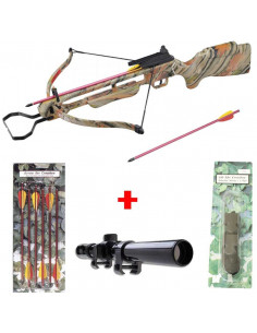 Pack Crossbow 150 lbs Camouflage  + 6 bolts 14 inches + Scope + String