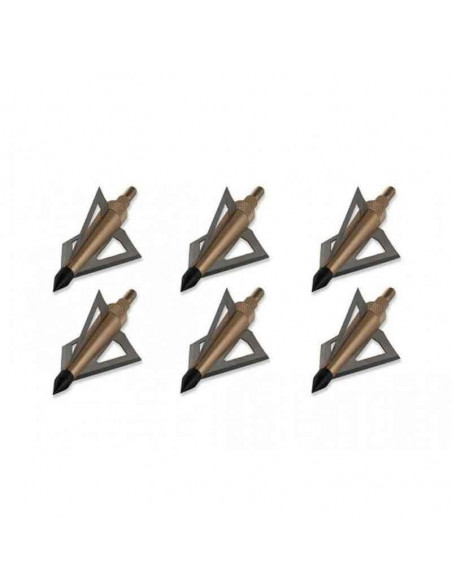 Set of 6 broadheads 3 blades for arrows 16 to 22 inches