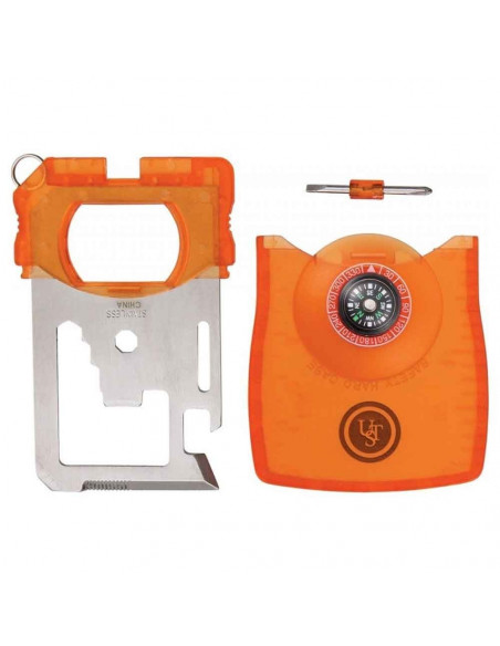Multifunctional survival card with compass