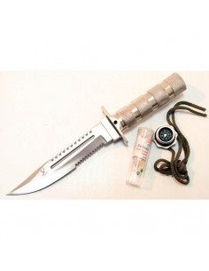 Survival knife 10.5 inch (26.7 cm) blade with silver V4