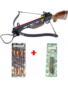 Pack Crossbow 150 lbs wooden stock + 6 arrows 14 inches + string